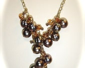 Harvest Vineyard Necklace, Pearl, Swarovski Crystal, Gold Vermeil, Gold filled Chain