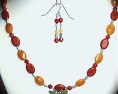 Red and Sponge Coral, Red Aventurine, Thai Silver Butterfly Necklace