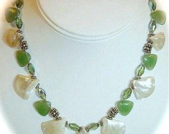 Mother of Pearl, Aventurine, Swarovski Crystal, Bali, Sterling Silver Necklace