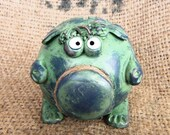 Green Piggy Bank Little Friendly Baby Monster One of a Kind -- BABY SHOWER GIFT