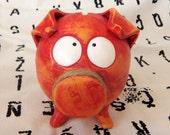 GIRL BABY SHOWER Handmade Ceramic Piggy Bank Red Orange with Huge Eyes