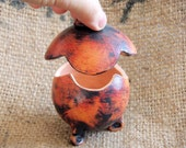 Handmade Clay Jewelry Box with Flower Shaped Removable Lid -- Copper and Burgundy Patina