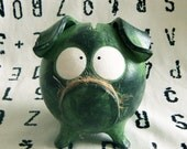 Handmade Green PIGGY BANK with Huge Eyes - BABY SHOWEr Gift, NEWBoRN Girl or Boy, Birthday Present One of a Kind