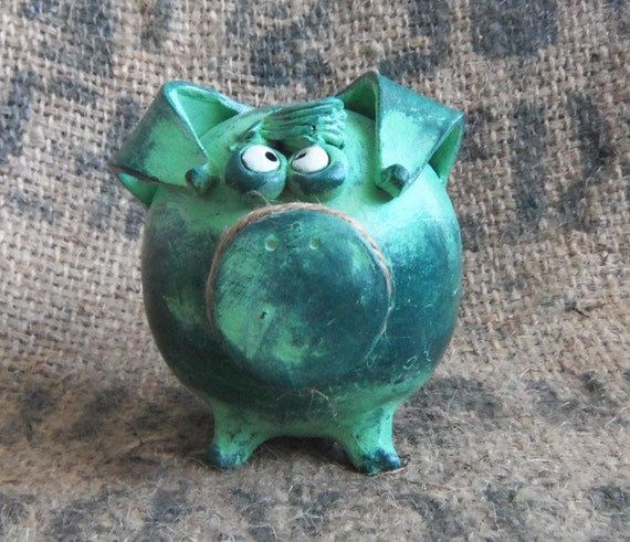 Piggy Bank - Green Patina, Crazy Eyes and Bangs