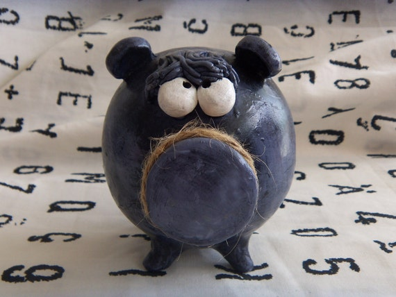 Clay Piggy Bank -- Blue Bear Ideal for Boy Baby Shower Gift, Money Bank for your Savings One of a Kind Handmade Bank