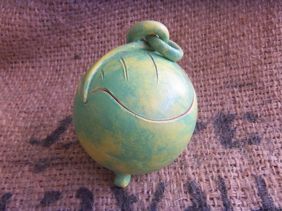 Handmade Clay Box, Jewelry Holder, Earring Container-- Light Green Patina and Removable Heart-Leaf Shaped Lid
