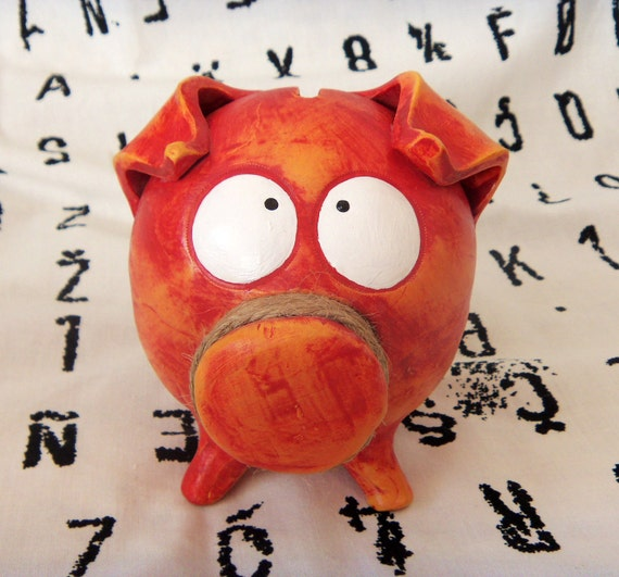 GIRL BABY SHOWER Handmade Ceramic Piggy Bank Red Orange with Huge Eyes