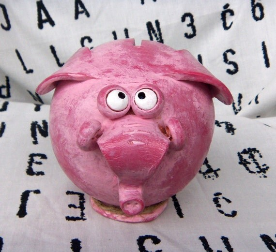 Pink Elephant Shaped Piggy Bank Handmade OOAK