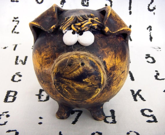 Handmade Ceramic Piggy Bank -- Purple and Golden Patina