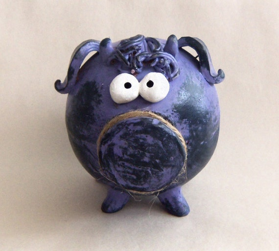 OOAK Clay Piggy Bank -- Light Purple-Blue Cute Girl Piggy with Horns and Bangs