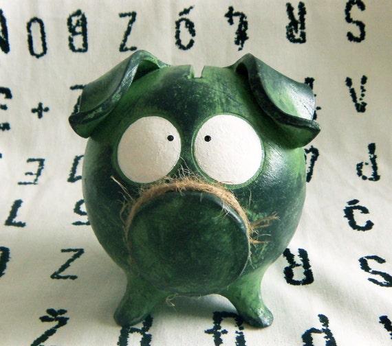 Handmade Green PIGGY BANK with Huge Eyes - BABY SHOWEr Gift, NEWBoRN Girl or Boy, Birthday Present One of a Kind