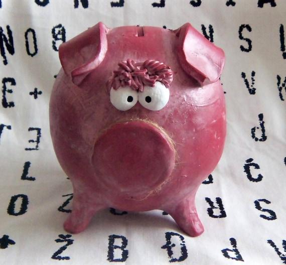 Ceramic Piggy Bank -- Large Pink Girl Piggy