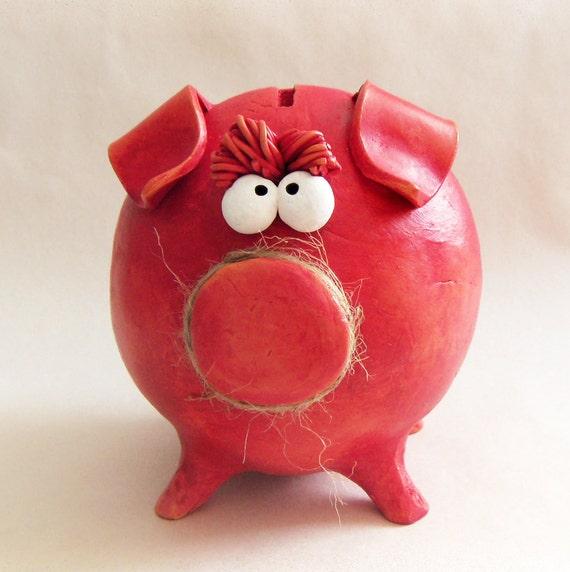 Large piggy banks red orange girl piggy bank handmade for Handmade coin bank
