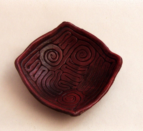 Handmade OOAK Ring Dish Burgundy Jewelry Holder Wedding Ring Holder