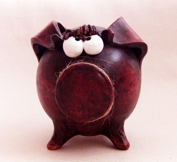 Piggy Bank Burgundy Ceramic Handmade