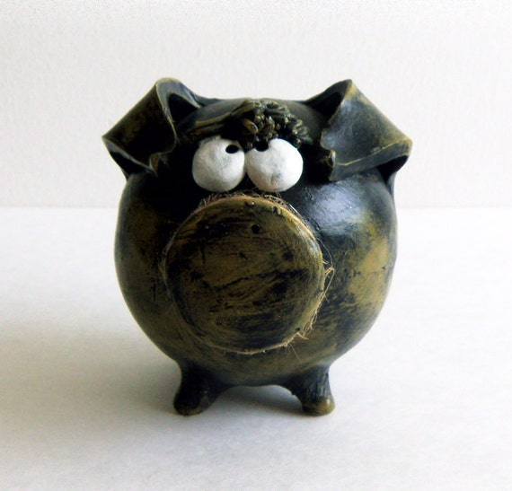Boy Piggy Banks for Baby Shower -- Green Olive Patinated Piggy Bank