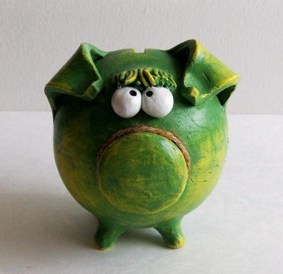 Ceramic Piggy Bank -- Green Little Piggy Baby Shower Gift