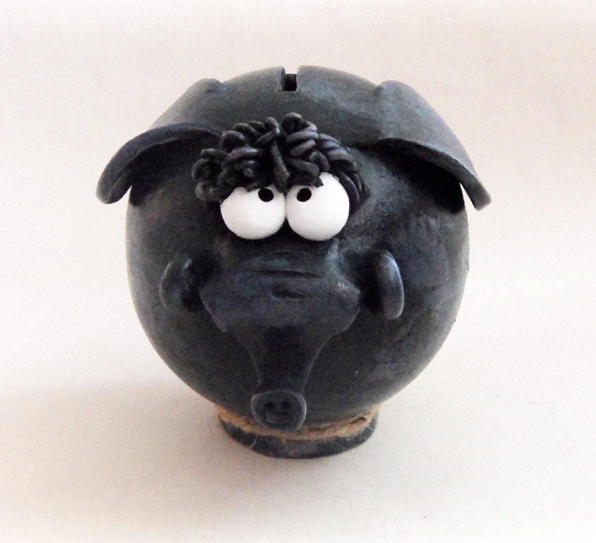 Blue elephant ceramic piggy bank handmade for by clayfulstudio - Ceramic elephant piggy bank ...