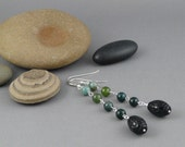 Moss agate and black quartz earrings