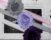NEW PRICE Boutique Baby Girls Set of 3 Shabby Chic Vintage Chiffon Rosette Flower on a Elastic Headband Purple Grey Lavender