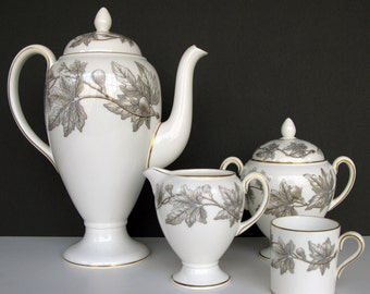 1950s Vintage Wedgwood Coffee Set - Ashford Pattern - Grey Leaves on White Bone China with Gold Trim - Mid-Century Modern - MCM