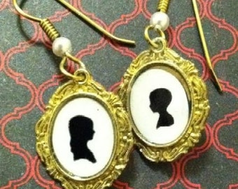 Double Trouble Mismatched Silhouette Earrings Boy and Girl - Hansel and Gretel
