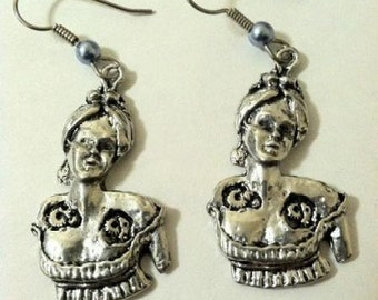 Steampunk Victorian Robot Woman Earrings