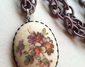 Vintage German Big Sugar Coated Pendant on Floral Fabric Chain