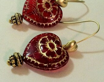 Hearts And Flowers Red Heart Love Earrings