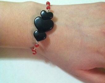 Black Heart Anti Valentine Rosary Bracelet