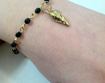 Gold Plated Bird Skull Rosary Bracelet Bellatrix Of Harry Potter, Silver Pewter or Gold Plated