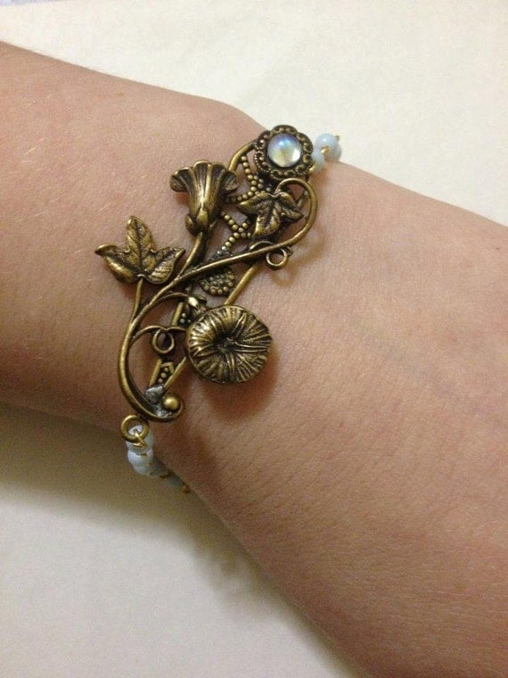 Vintage Morning Glory Rosary Bracelet