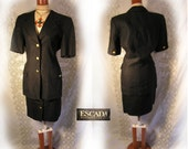 Classic 1990 Black Linen short sleeved ESCADA suit by Margaretha Ley sz 34