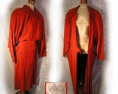 Red 1980s fine feather suede coat with shoulderpads and side pockets by Vakko
