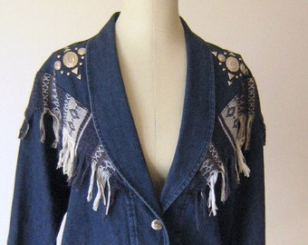 Fringed Denim Slouchy Indie Jacket Top