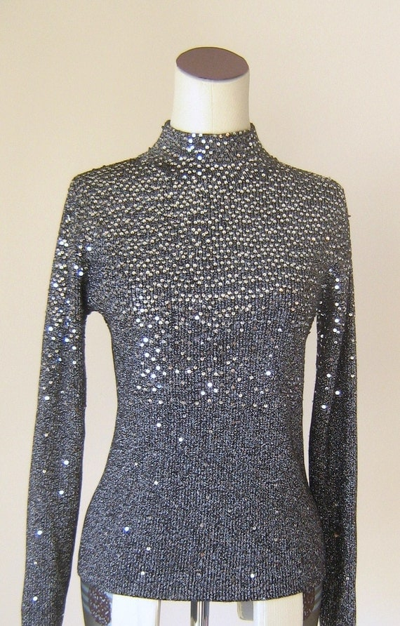 Sparkling Silver Sequin Turtleneck Sweater Glitter Glam