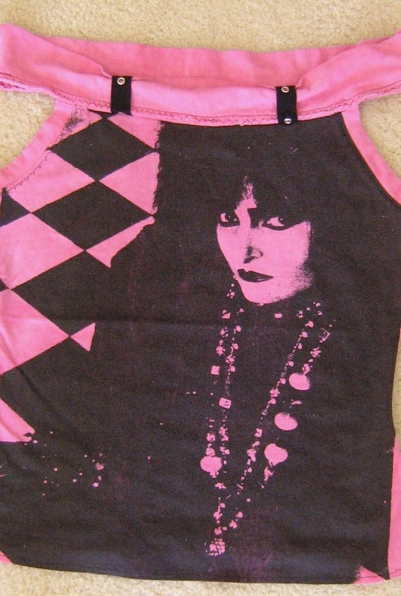 Siouxsie Sioux Pink & Black Tank Top Shirt Reconstructed DIY Punk