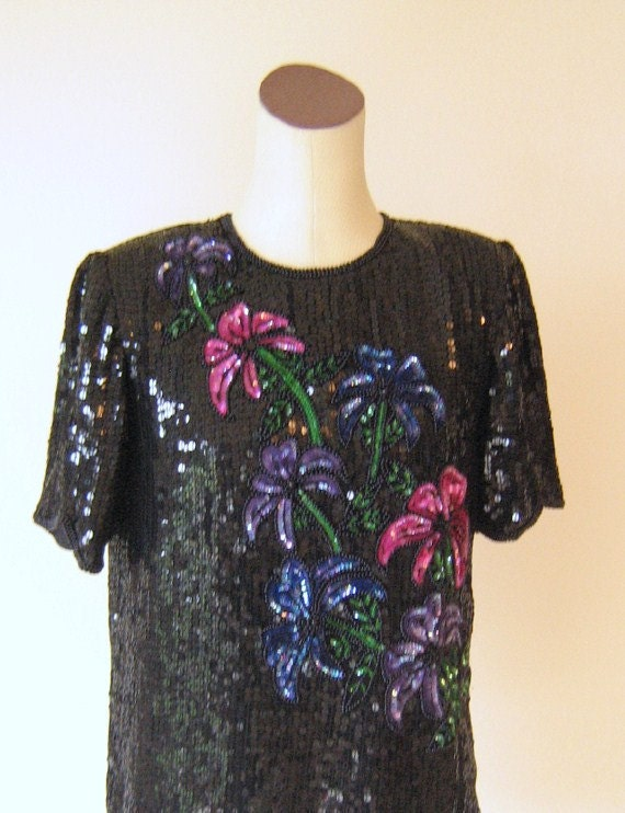 RESERVED - Colorful Flowers Slouchy Black Sequin Tunic Top Shirt Diva Glam