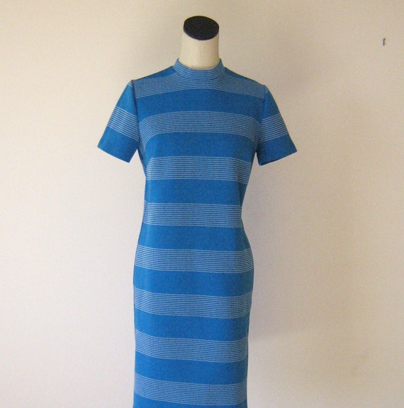 RESERVED - Blue Horizontal Striped Mod Shift Dress