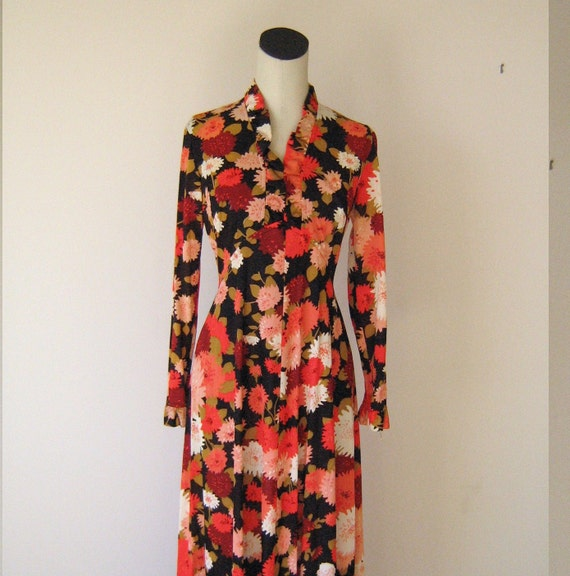 RESERVED - Warm Floral Ruffle Neck Flowing Maxi Dress