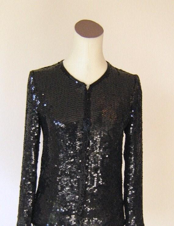 Small Black Jacket Top Cardigan Diva Glam Sparkle