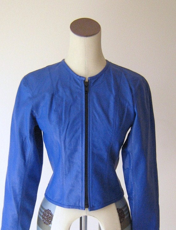 Bright Blue Leather Jacket Coat Top New Wave 1980's Chia XS