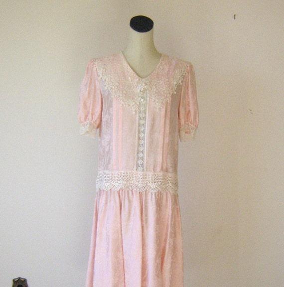 Powder Pink Lacy Silk Floral Dress Molly Ringwald