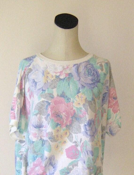 Pastel Floral Batwing Sweatshirt Top Indie Slouchy