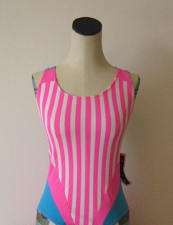 Neon Pink Striped Leotard Swimsuit Workout