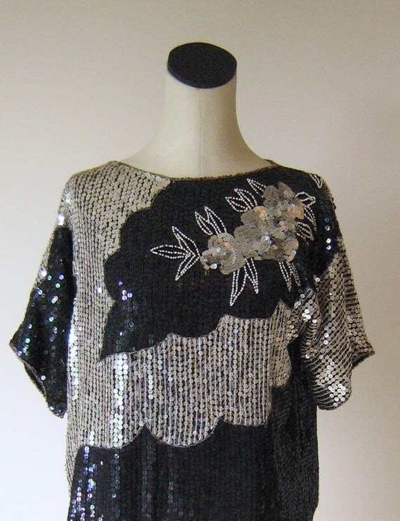 Silver & Black Floral Tunic Slouchy Shirt Top Glam Diva
