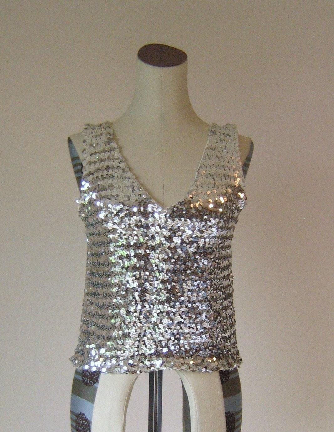 Silver Sparkly Sequin V-neck Crop Tank Top Glam