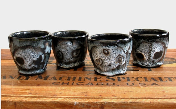 Set of Four Skull Teacup Tumblers, Double Shot Cups
