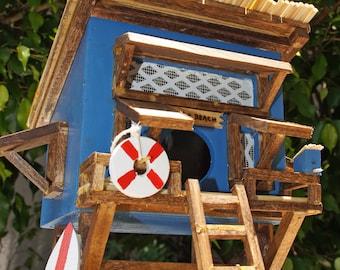 BEACH  BIRDHOUSE,  Beach Hut Birdhouse, Tropical Birdhouse, Tiki Hut Birdhouse, Beach Theme, Beach Art