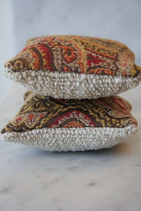 Sachets Lavender Filled with Grain Sack Backing - Set of 2 - Brown